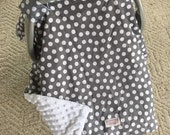 Car Seat Canopy..Baby Car Seat Canopy... Gray Dots..... Michaelmoodesign
