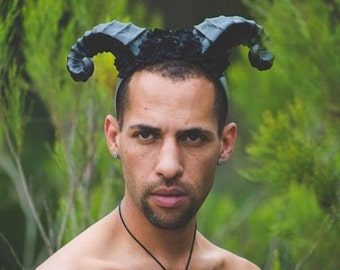 Satyr Horns, Horn headband, Flower, Flower horns, Horn headdress, Ready to ship, Black horns, Flower crown, Floral