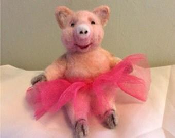 Felted Ballerina Pig