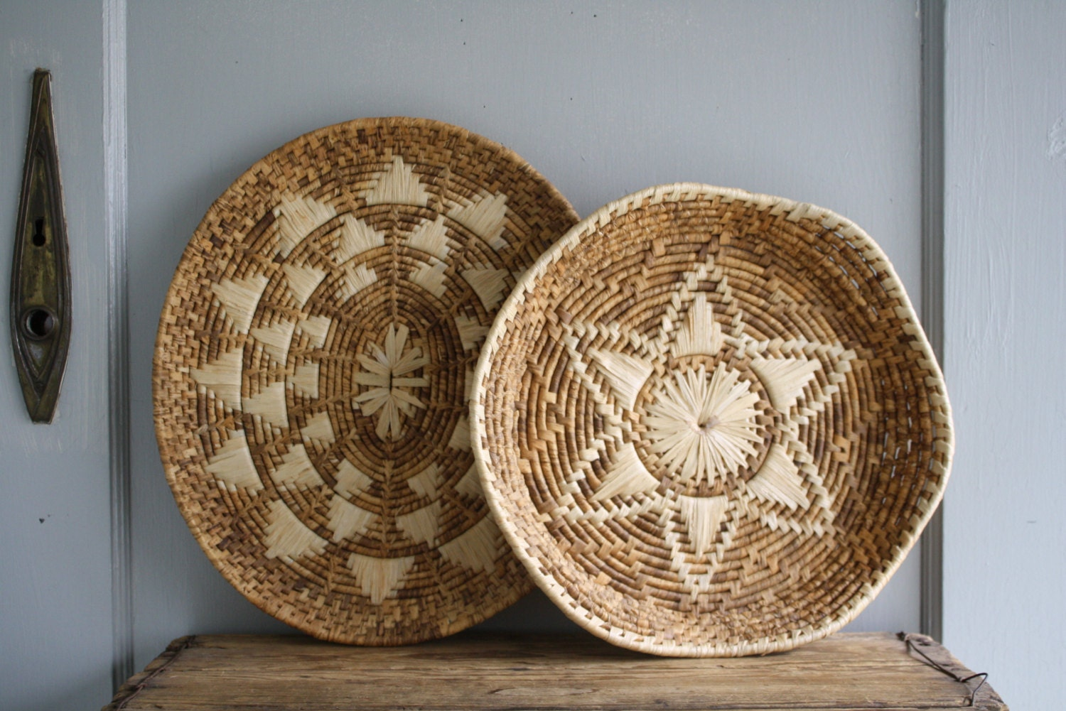 vintage corn husk baskets woven wall decor