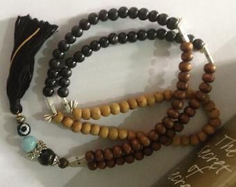 Gothic Lotus 108 Bead Yoga Mala, Larimar, Raksha Eye, Black Fossil Beads