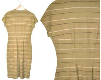 1940s WOOL sheath dress 40s vintage olive green striped ITALIAN designer fitted sheath dress size 7 8