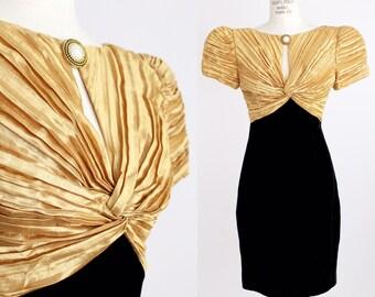 Vintage Plissé Bodice Dress | Pleats and Velvet Cocktail Dress | XS