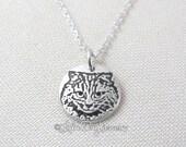 Tiny cat necklace, silver cat pendant, remembrance jewelry, cat jewelry, long hair cat necklace, longhair cat, fluffy cat necklace