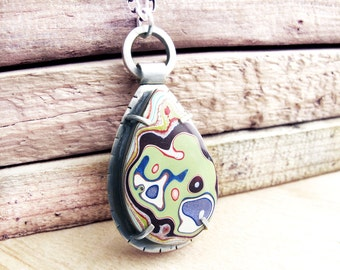 Fordite jewelry, fordite necklace, gift for her, gift for wife, girlfriend gift, Detroit Agate necklace, statement necklace, valentines gift