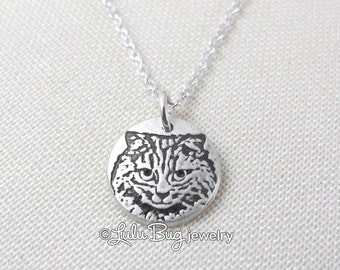 Tiny cat necklace, silver cat pendant, remembrance jewelry, cat jewelry, long hair cat necklace, longhair cat, fluffy cat necklace