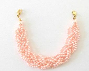 Vintage Avon Braided Pink Pearl Bracelet, IOB