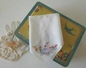 Wedding Handkerchief Vintage Hankie Crinoline Lady Hand Embroidered English Garden - EnglishPreserves