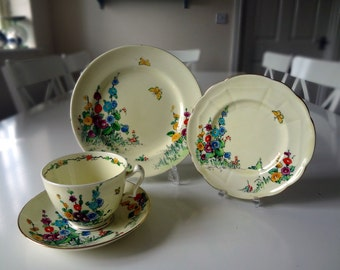 Crown Staffordshire Hollyhock Cup Saucer 4 Piece Porcelain Pattern No 742202 Antique Circa 1920 Made in England Style 5 - EnglishPreserves