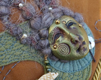 Mermaid Maiden Of The Seas One Of A Kind Spirit Bag Mixed Media Textile Art Wearable