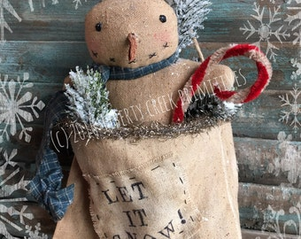 Let It Snow Primitive Snowman Bag Epattern / Instant Download