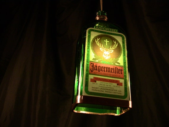 Jagermeister Bottle Pendant Lamp with Shiny Copper Trim