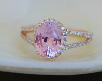 3.21ct Oval split shank pink sapphire diamond ring 14k rose gold ring