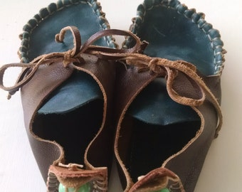 Handmade Granola Moccasins   >>Genuine Leather<<  Blue