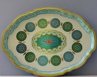 1950s Baret Ware tin tray, made in England. Charm by BaretWare.