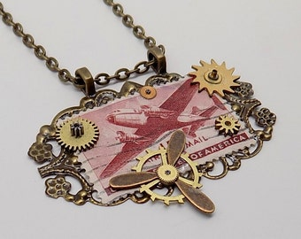 Steampunk . Steampunk  pendant.Stamp pendant.Aviation pendant.