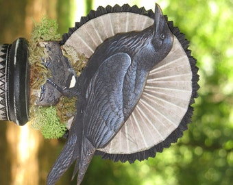 Vintage Halloween Victorian Inspired CROW RavenStanding on a Spool with Rosette