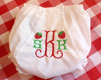 Embroidered Monogram Strawberry Bloomers Diaper Cover Panty Baby Child