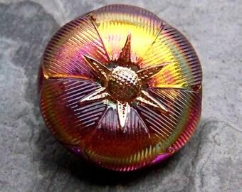 Flower Button-Vintage Button-Czech Button-Vintage Czech Volcano Flower Glass Button-1