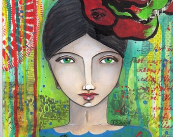 Frida Kahlo with flower
