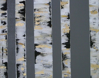Gray Birch Tree acrylic painting with Gold Leaf accents
