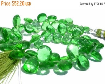 55% OFF SALE 1/2 Strand 26Pcs AAA Green Quartz Faceted Pear Briolettes Size 8x7 - 12x 10mm approx