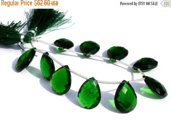 55% OFF SALE 8 Inches - AAA Chrome Green Quartz Faceted Pear Briolettes 10 Pieces 5 Matched Pair Size 19x14mm