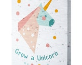 Seeded paper greeting card - Grow a Unicorn