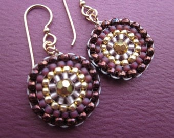 mandala gold, deep rose and berry seed bead stitched earrings