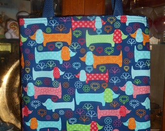 Dachshund Tote Bag Doxie Wiener dogs Colorful Handmade Purse Limited