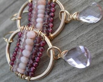 Statement Earrings Floating Garnet Peruvian Opal Spinel Lavender Amethyst Gold Frame Earrings