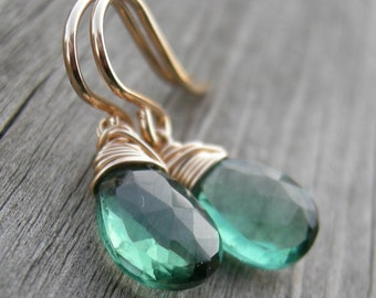 Forest Green Gold Fill Wire Wrapped Earrings Holiday Jewelry
