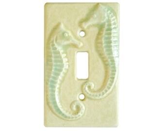 Seahorses Ceramic Single Toggle Light Switch Cover in Cream Moss Glaze