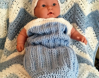 Baby Crochet Gift Set | Snuggle, Swaddle, Cuddle, Cocoon Sack | Infant Hat | Infant Booties | Newborn Gift Set | Photo Prop | Baby Blue