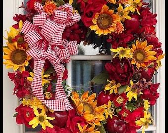 Fall Wreath, Fall Wreaths, Summer Wreaths, Autumn Wreath, Wreaths, Door wreaths, Harvest Wreath, Autumn Door Wreath, Luxury Fall Wreath