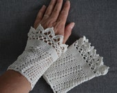 Lace crochet wristies, wristlets, cotton, P492