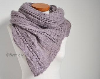 Lace knitted shawl, mauve, pale purple, P430