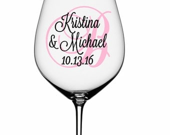 SINGLE DIY Wine Glass Decal Monogram With Title And Date - How to make vinyl decals for wine glasses