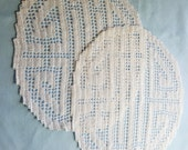 Pair of Feng Shui Balance and Harmony Filet Crochet Doily Cloths Reserve for Mimi B.