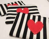 Striped black & white purse/pouch with red felt heart (vertical stripe)