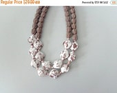 Brown white statement necklace double strand