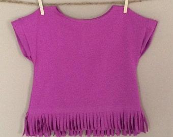 shortees fringe tee : girls solid color drop shoulder capsleeve top - toddler and big girl sizes