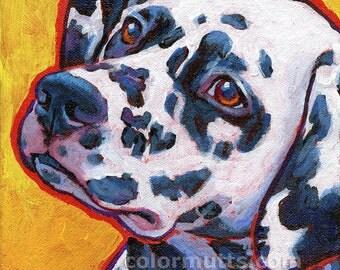 DALMATIAN Dog Portrait Original Art Painting on Canvas 6x6 by Lynn Culp