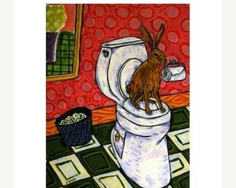 ON SALE Bunny in the Bathroon Rabbit Art Print