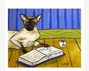 ON SALE Siamese Cat Reading a Book Art Print 8x10