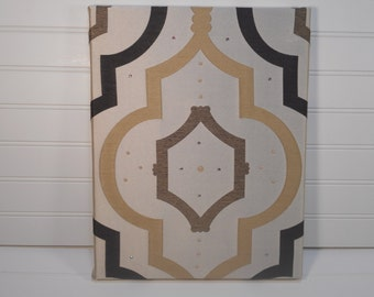 Swarovski Crystals Embellished Fabric Wall Art - Geometric Design