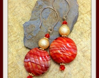 Handmade #Sedona Sunset #Earrings #Coral #Gold #Swarovski #Crystals #Puffy #Glass 14K Gold Filled #Handcrafted Wires