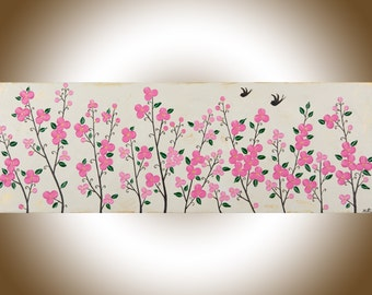 Colourful art Pink flowers wall art love birds swallow painting green floral wall art wall decor Impasto acrylic Painting  qiqigallery