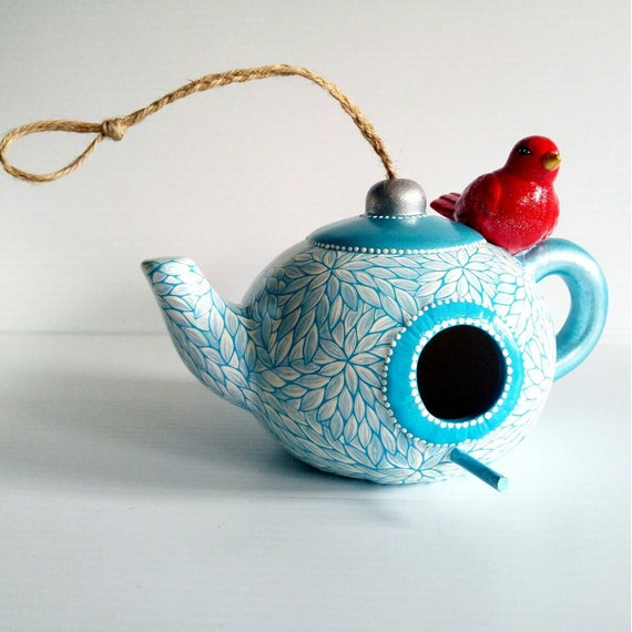 Red White and Blue Teapot Birdhouse: Hand Painted Ceramic Birdhouse