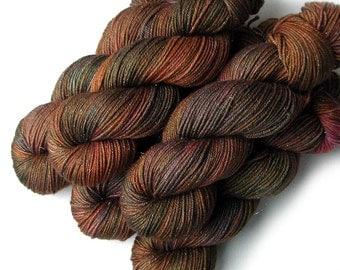 Merino and Silk Glimmer DK Yarn - Red Wood